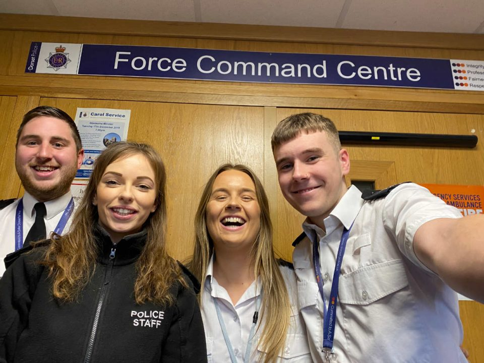 Dorset Police Call Handlers taking a selfie