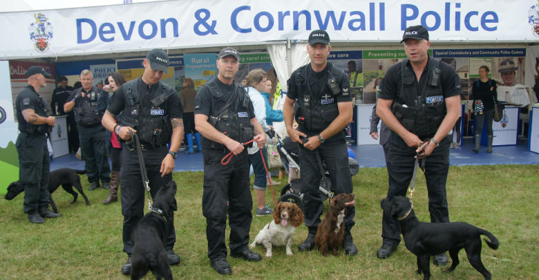 Devon and Cornwall Police Dog Handlers stood for a photo with their dogs