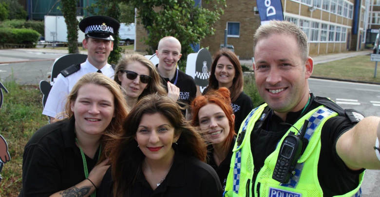 Police Staff & Officers Together taking a selfie