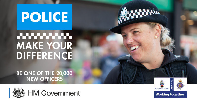 Government recruitment campaign with Police Officer smiling