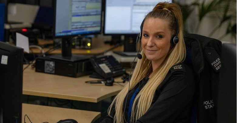 Female Contact Officer with headset on